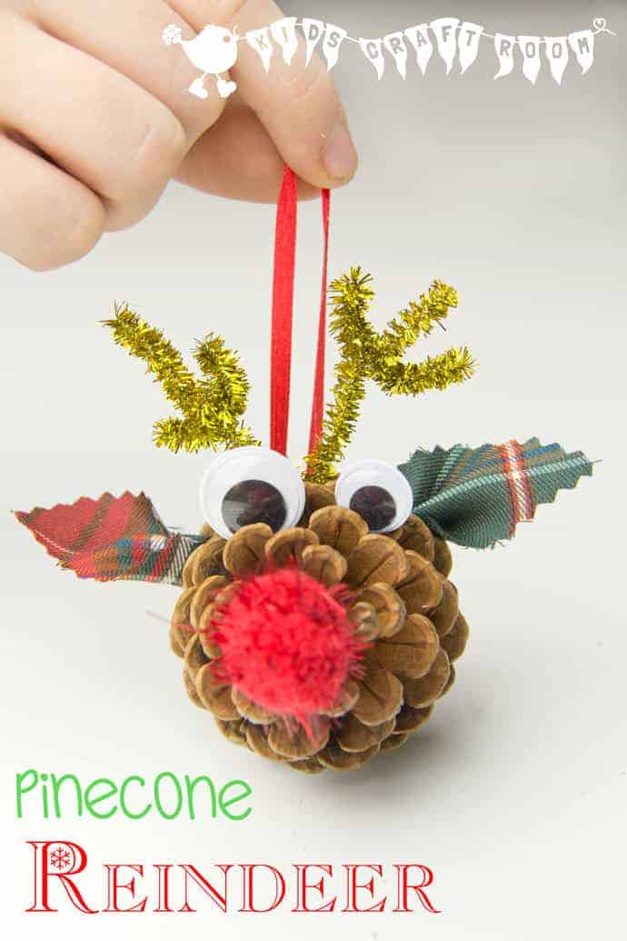 Pinecone reindeer homemade ornaments kids craft room for Homemade christmas ornaments to make