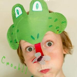 Make a Paper Plate Frog Mask - catching flies witMake a Paper Plate Frog Mask - catching flies with its curly tongue! CROAK!h its curly tongue! CROAK!