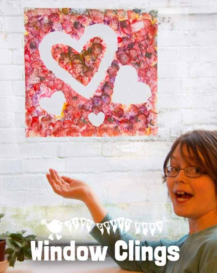 HEART WINDOW CLINGS Kids will love this fun art project and it's great for Valentine's Day and Mother's Day gifts too.