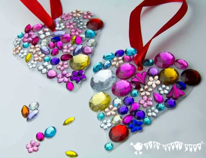 Make gorgeous jewelled heart sun catchers, great for gifts.