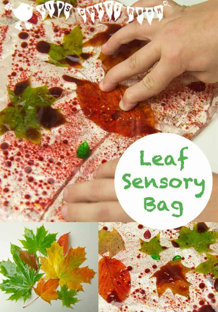 Make Leaf Sensory Bags, a fantastic Autumn activity for kids.