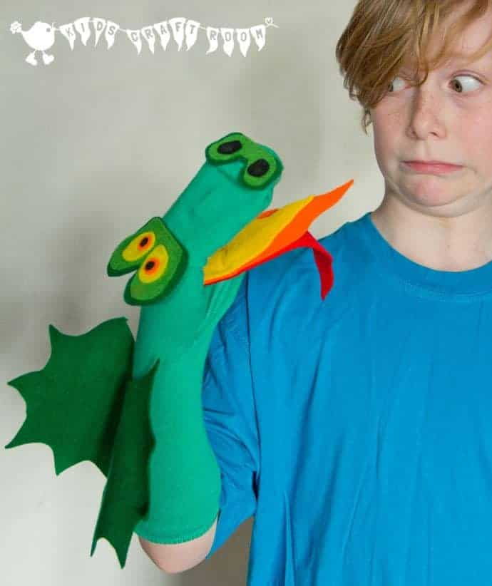 Make an easy no sew DRAGON SOCK PUPPET - great for imaginative play.