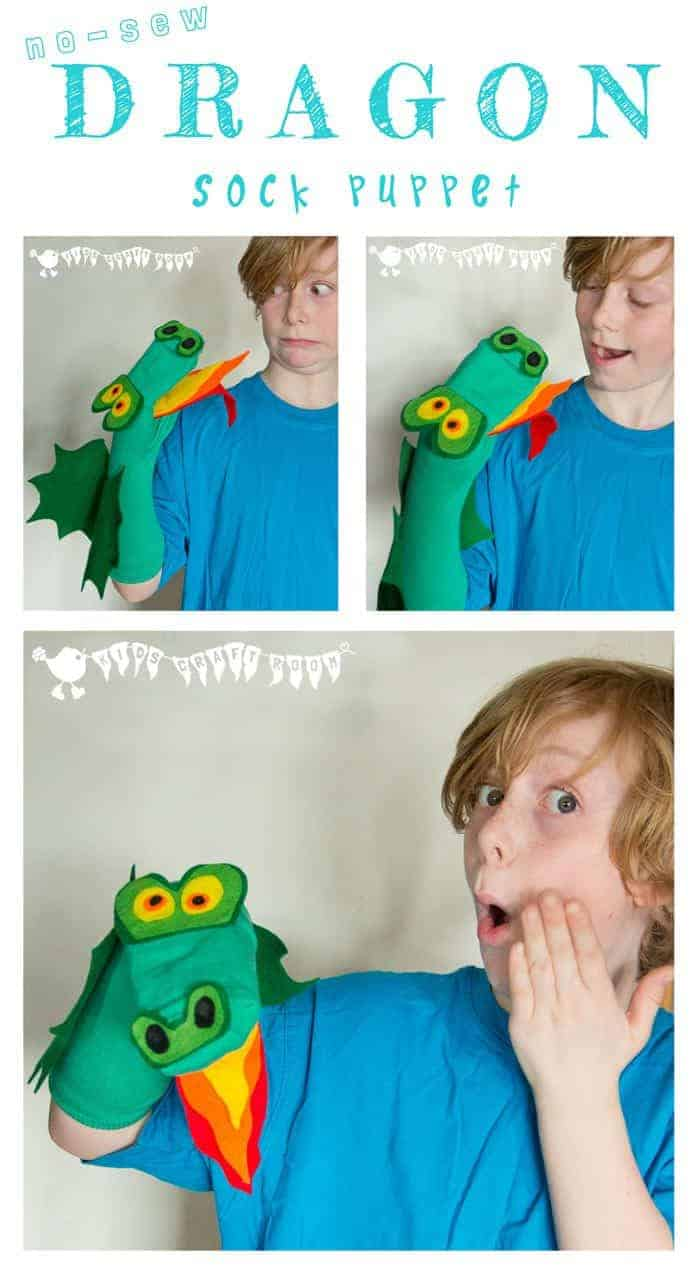 DRAGON SOCK PUPPET Kids will enjoy hours of imaginative play with this cheeky dragon sock puppet.  It's a no-sew kids craft so it's nice and easy for little hands to make.