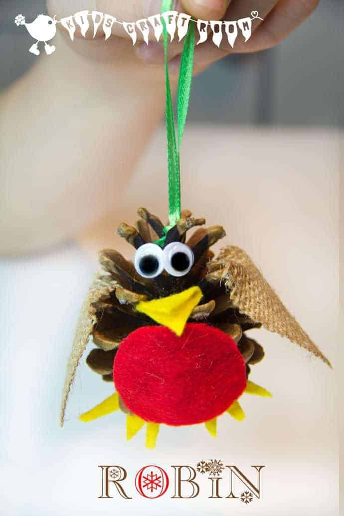 Pine cone craft christmas robin ornament for Pine cone crafts for children