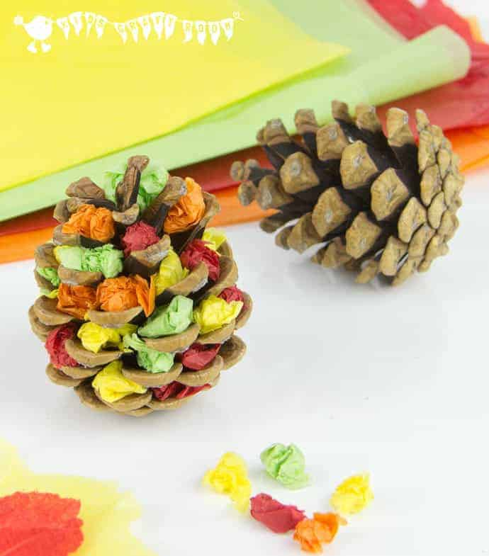 Pinecone Paper Autumn Trees Fine Motor Activity For