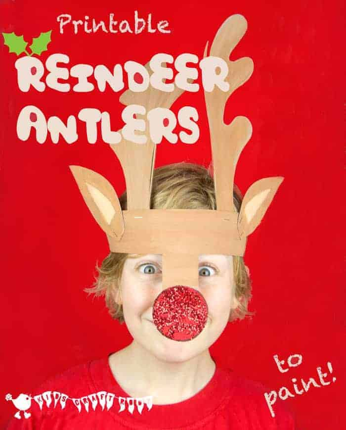 Cute printable reindeer antlers to cut out, paint and wear.