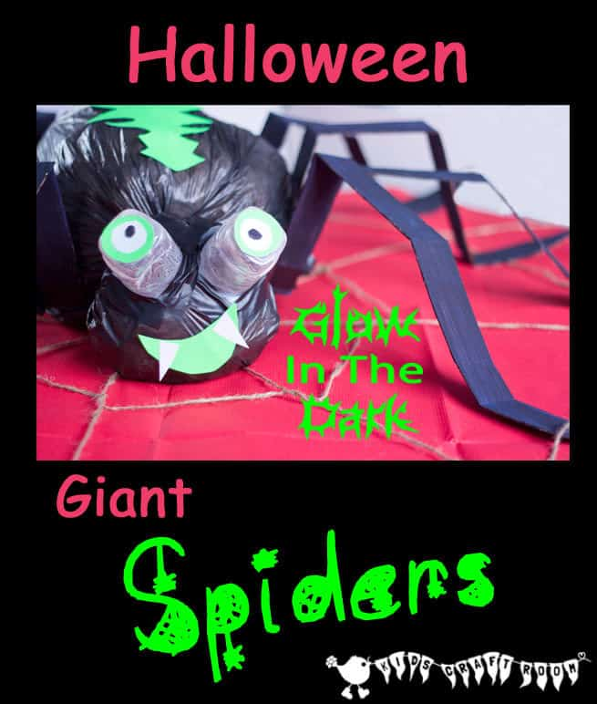 Make GIANT spider decoration for Halloween. A fun recycled craft for kids.