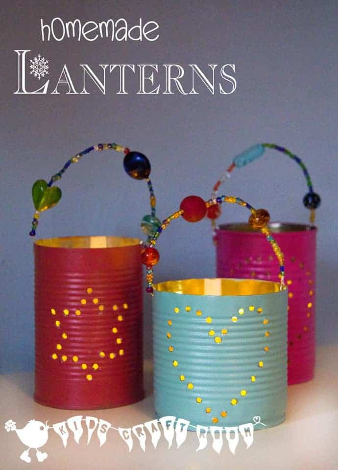 Homemade gifts tin can lanterns kids craft room for Handmade things for home