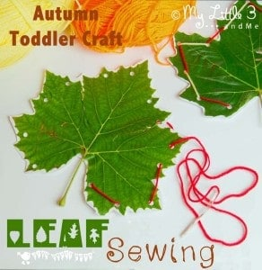 Autumn Crafts For Toddlers: Leaf Sewing. A pretty and fine motor skills activity.