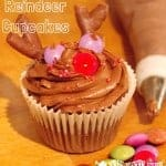Reindeer Cupcakes, a fun Christmas recipe for kids.
