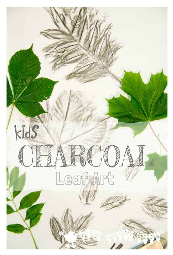 CHARCOAL LEAF ART Charcoal is a super medium for kids to use to explore the shape, texture and patterns of leaves.