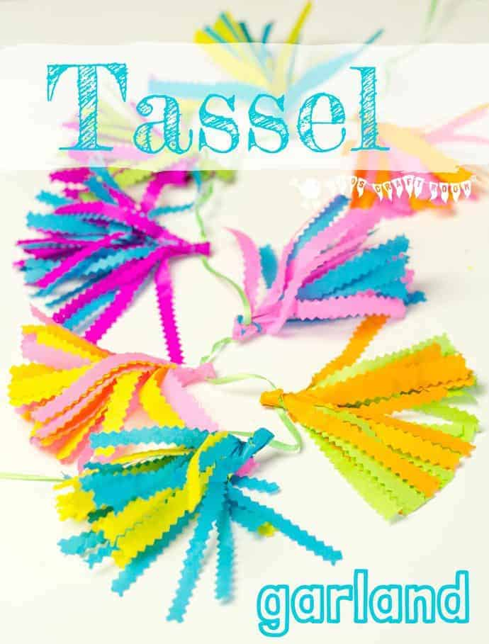 Make the cutest and most colourful mini tissue paper tassel garlands ever! They're just perfect for decorating kids bedrooms and parties or even the garden.