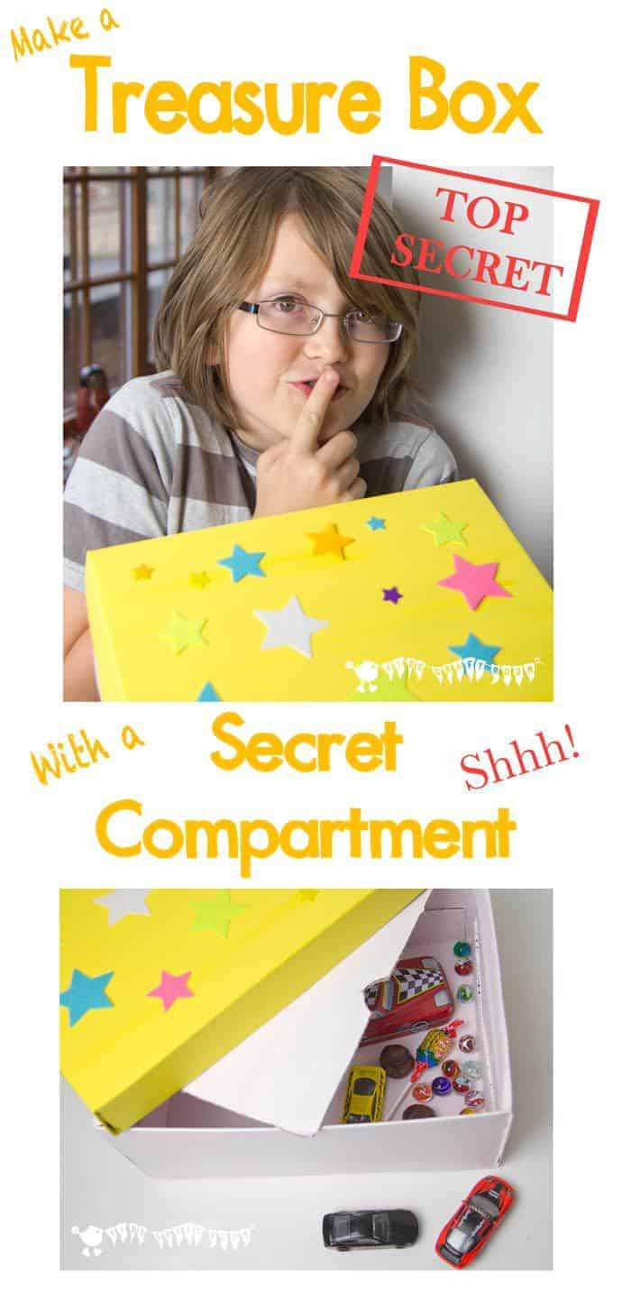 Shhhh, don't tell but we've been making TREASURE BOXES WITH SECRET COMPARTMENTS! Kids will adore stashing away their little treasures out of sight and you'll love that they're keeping things tidy!