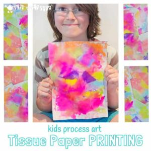 TISSUE PAPER PRINTING - A bright and vibrant process art for kids. Have you tried it before? You'll love how colourful and fun it is!