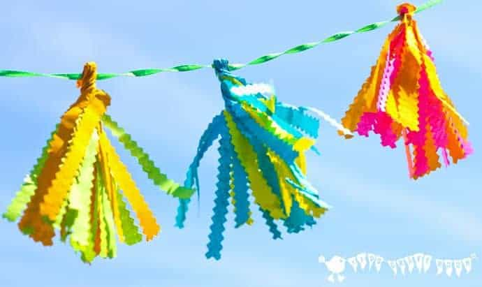 Tissue-Paper-Tassels-In-The-Garden