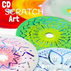 Colourful CD Scratch Art – Kids Recycled Art