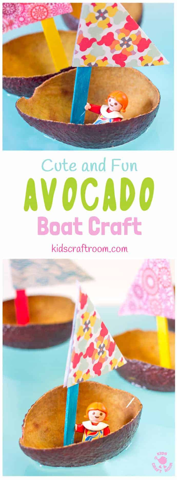CUTE AVOCADO BOAT CRAFT FOR KIDS. Homemade boat crafts for kids encourage imaginative play where small world play figures can sail around the wading pool or bath. Learn about floating, sinking, buoyancy and weight bearing. A fun boat craft for Spring and Summer. #boat #boatcrafts #homemadeboats #paperboats #kidscrafts #craftsforkids #waterplay #kidscraftroom #toyboats #springcrafts #summercrafts