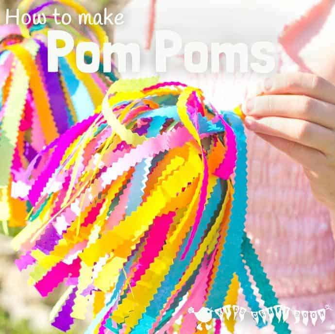 See how to make pom poms for your budding dancer or cheerleader. A colourful kids craft to inspire creativity and self expression and develop gross motor skills.