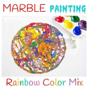 Have fun creating dynamic art with colourful marble painting. Kids will love experimenting with painting and colour mixing in a new and physical way.