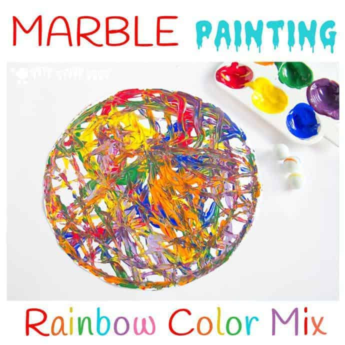 Have fun creating dynamic art with colorful marble painting. Kids will love experimenting with painting and color mixing in a new and physical way.