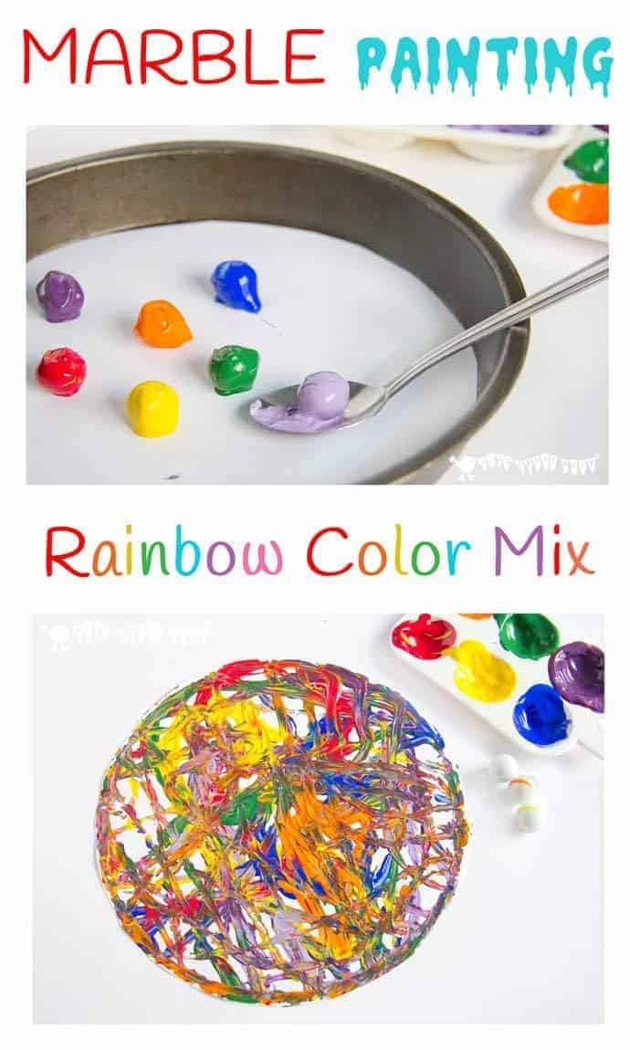 Rainbow Color Mix Marble Painting Kids Craft Room