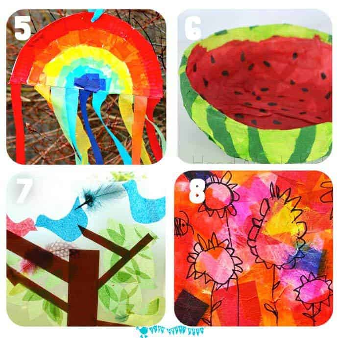 16 of the best tissue paper crafts for kids that will have them exploring and experimenting with this colorful and cheap art resource in a multitude of exciting and fun ways.