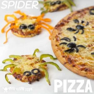 Spider Pizza Halloween food for the whole family to enjoy. Ewww!