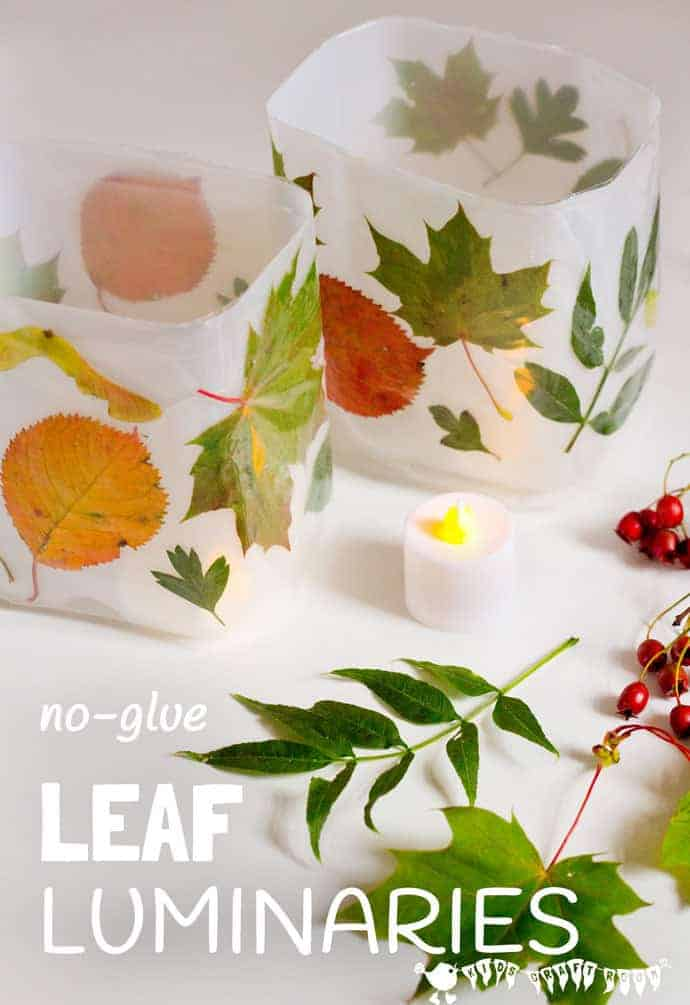 Kid Fall Craft Ideas Part - 42: DIY Leaf Luminaries Are So Gorgeous And So Simple To Make! Whether You Have  Tiny Save. More Autumn Ideas ...