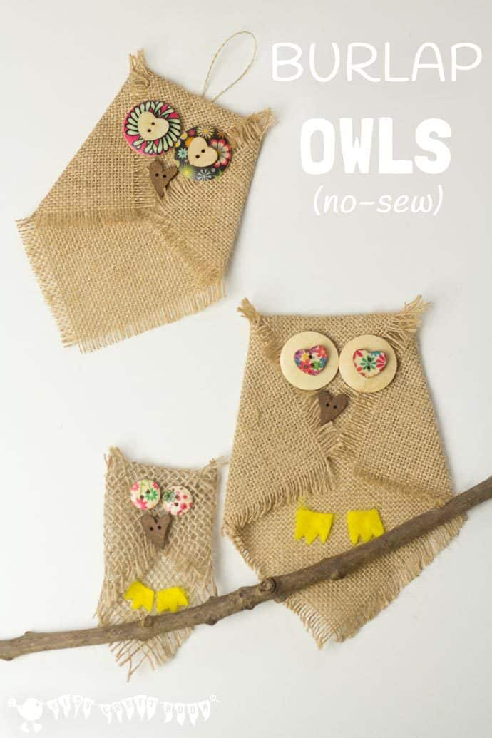 BUTTON AND BURLAP OWL CRAFT - Adorable no-sew burlap craft. An easy owl craft for kids and grown ups that can be used to make lots of lovely unique homemade owl gifts or owl ornaments. Who can resist a cute button craft? #owlcrafts #burlapcrafts #buttoncrafts #owls #kidscrafts #Fallcrafts #easycrafts #craftsforkids