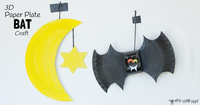Squeak, squeak, let's go batty making bats! This 3D paper plate bat craft makes a great mobile for hanging in a kid's bedroom and is fun for Halloween too.