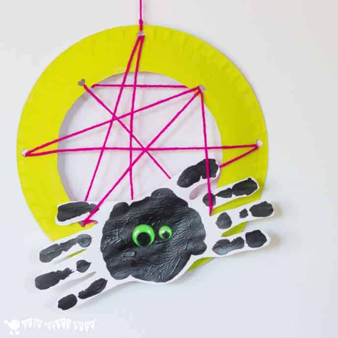 Black-And-Green-Cute-Spider-Handprint Spiders In Webs are easy & frugal to make and a super way to build fine motor threading skills. A fun spider craft for Halloween & all year round.Handprint-Craft-