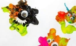 Kids will love blow painting their own unique MONSTER CRAFT. Stick them on a greeting card, display them on the wall or even turn them into puppets to play with.