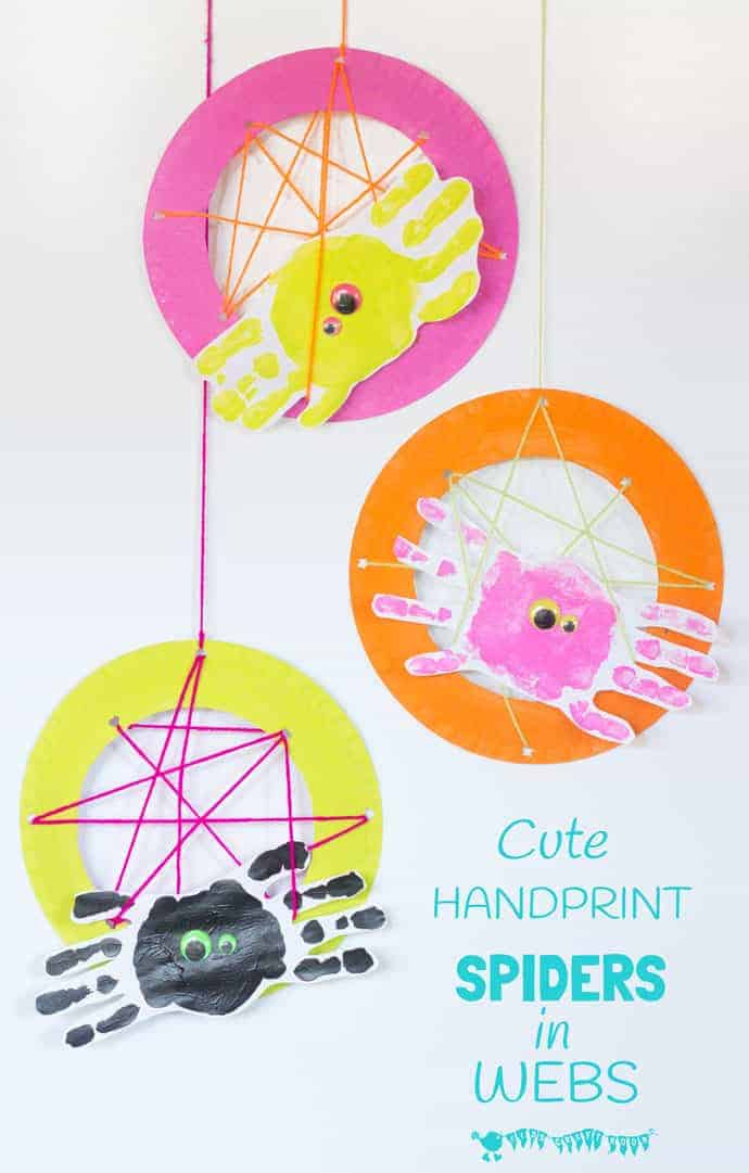 Handprint Spiders In Webs are easy & frugal to make and a super way to build fine motor threading skills. A fun spider craft for Halloween & all year round. #spiders #spidercrafts #paperplate #paperplatecrafts #insectcrafts #animalcrafts #kidscrafts #craftsforkids #kidsactivities #kidscraftroom #finemotorskills #motorskills #threading #sewing #handprintcrafts #handprints #halloween #halloweencrafts