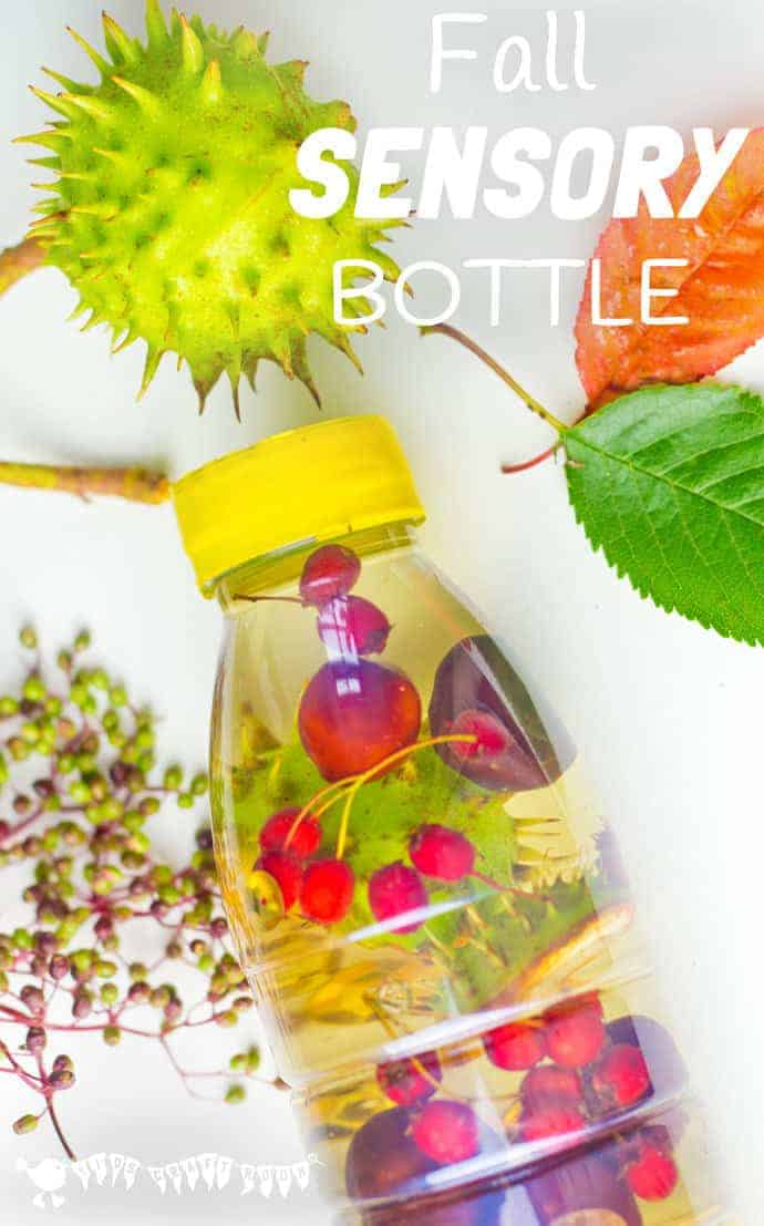 FALL SENSORY BOTTLES - It's easy to let babies and toddlers explore the colours, sounds, shapes and patterns of Fall/Autumn safely with attractive homemade sensory bottles.