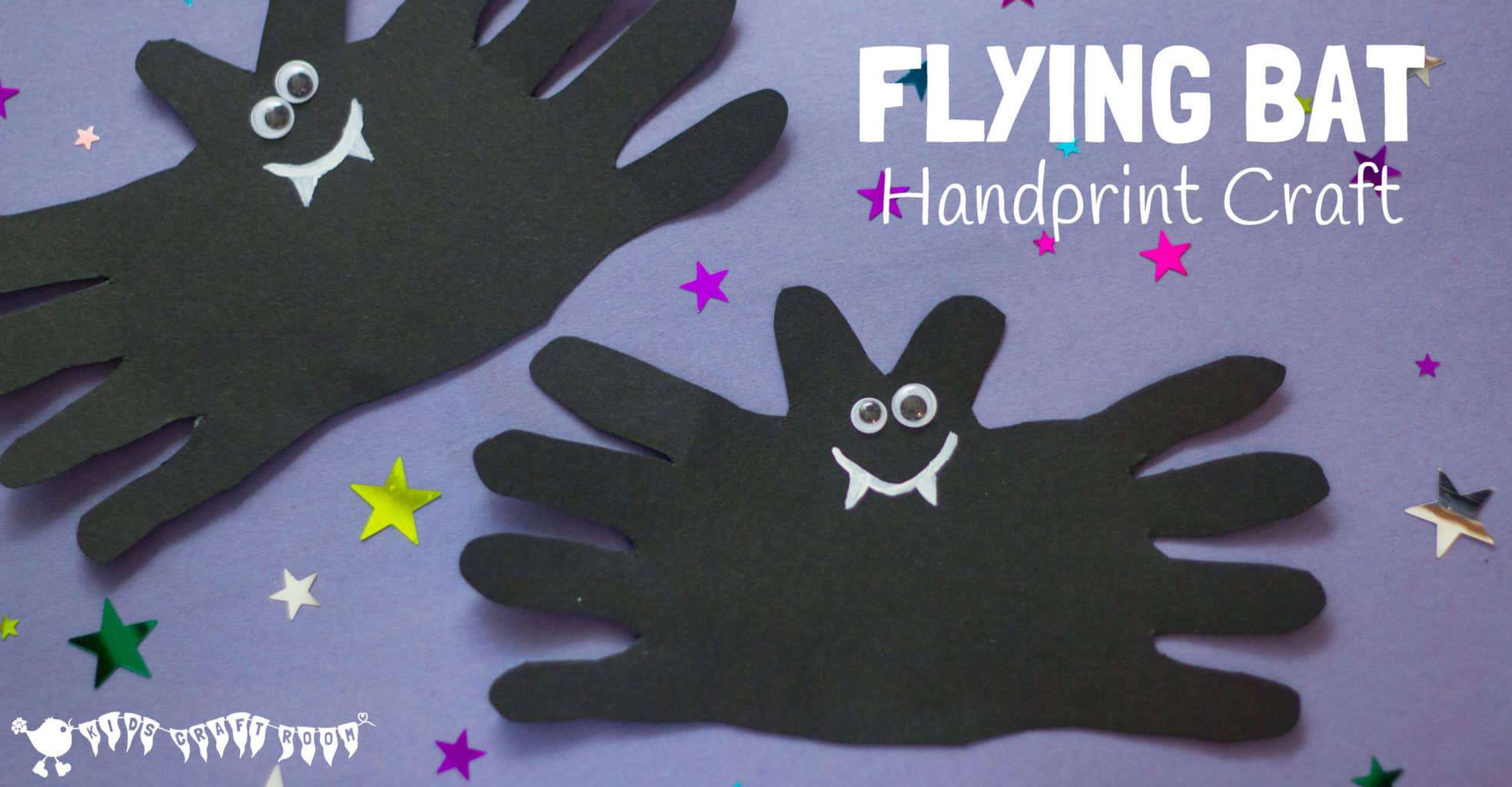 A cute and cheeky Halloween Bat handprint craft for kids. Great for Halloween party decorations, greeting cards or even as a bat toy for kids to play with.