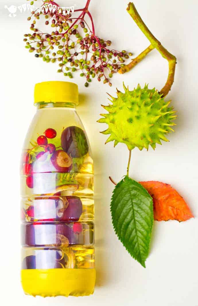 FALL SENSORY BOTTLES - Let babies and toddlers explore the colours, sounds, shapes and patterns of Fall/Autumn safely with attractive homemade autumn sensory bottles. Seasonal sensory play with discovery bottles for little hands.