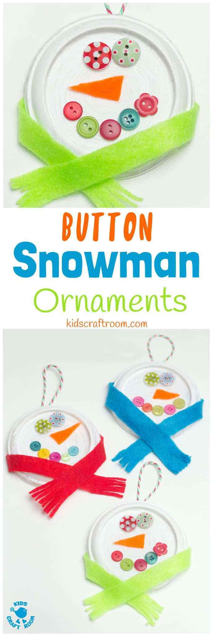 BUTTON SNOWMAN ORNAMENTS - Button eyes and snug scarves make these the cutest snowman craft for kids to make this Winter. A thrifty recycled Christmas and Winter craft for kids. #snowman #snowmancrafts #buttoncrafts #kidscrafts #ornaments #christmas #christmascrafts #winter #wintercrafts #recycledcrafts #wintercraftsforkids #craftideasforkids #kidscraftroom