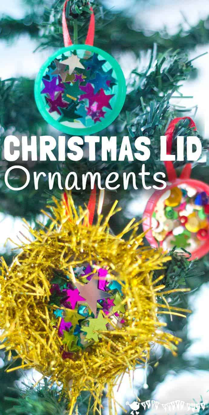 "CHRISTMAS LID ORNAMENTS are a shimmery, shiny, frugal Christmas craft for kids. Let the kids ""bling"" to their heart's content with these homemade decorations."