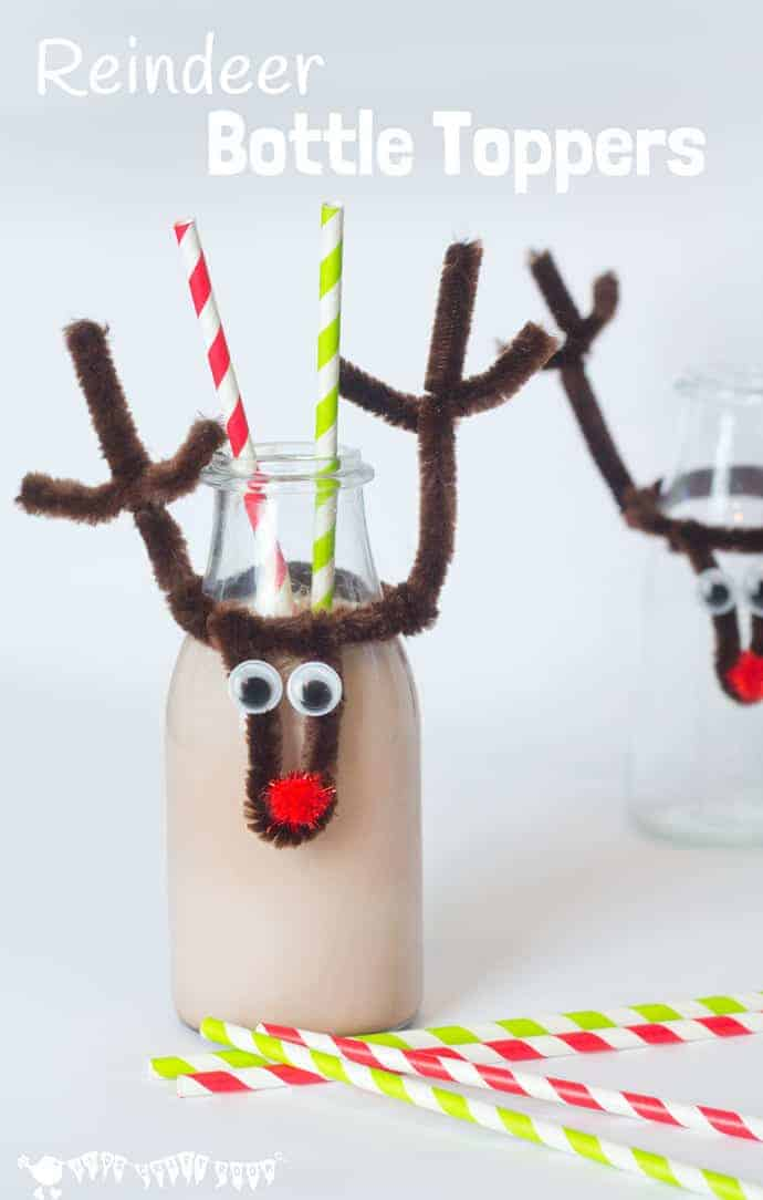 DIY reusable Christmas Reindeer Bottle Toppers make bottles fun and festive. Pop them on your kids' milk bottles, fizzy pop or even wine for the grown ups!