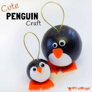 CUTE PENGUIN CRAFT - Have fun with this adorable round Winter penguin craft. They make super penguin Christmas ornaments and are fun for Winter Small World play too. #penguin #penguincrafts #wintercrafts #wintercraftsforkids #ornaments #christmas #christmascrafts #kidscraftroom