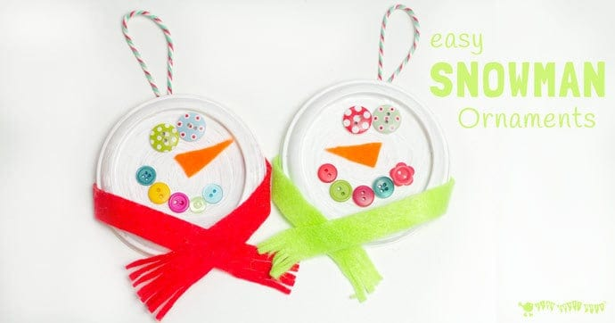 With their button eyes and snug scarves these are the cutest snowman ornaments for kids to make this Christmas. A thrifty recycled Christmas craft for kids.