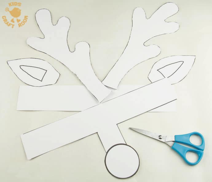 Printable reindeer antlers to colour and wear kids for Reindeer cut out template