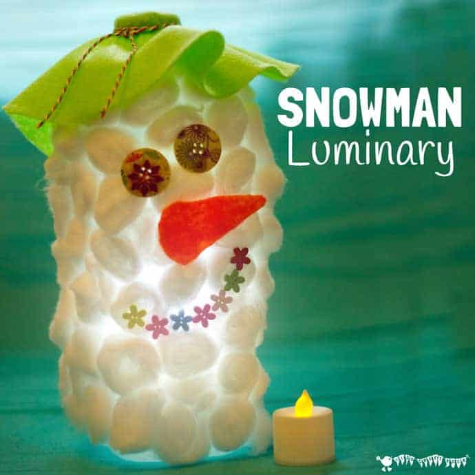 DIY SNOWMAN LUMINARIES - These fluffy Snowman Luminaries look cute and fluffy during the day and just adorable glowing in the evenings! An easy and frugal recycled snowman craft for kids. #snowman #snowmancrafts #luminary #lantern #winter #wintercrafts #kidscrafts #kidscraftroom #recycled via @KidsCraftRoom