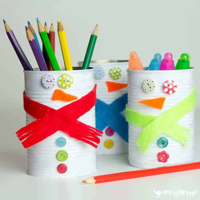 Kids will love turning old tin cans into Snowman Desk Tidies and a Snowman Bowling Game with this cute and easy Tin Can Snowman Craft.