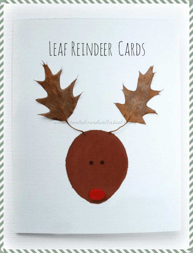 Leaf reindeer christmas cards kids craft room for Reindeer christmas card craft