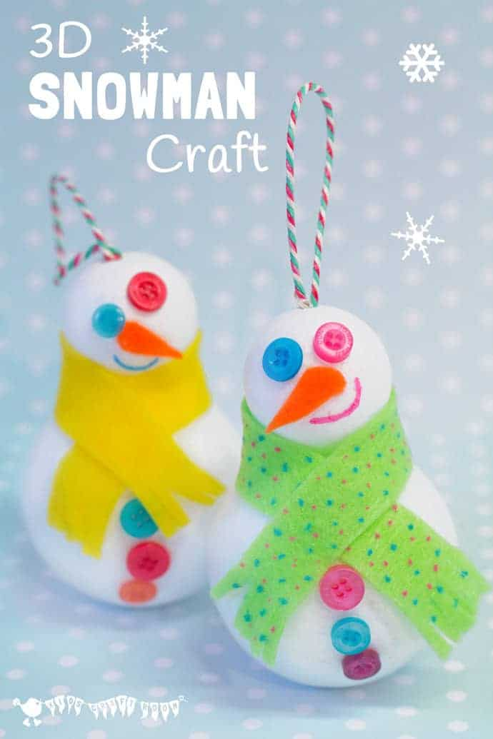 Easy 3D Snowman Craft for kids - great for hanging on the Christmas tree or for small world play. Kids will love how quick it is to make a Snowman friend.