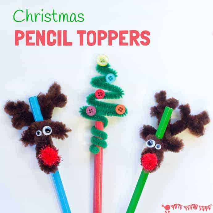 Christmas Pencil Toppers - DIY Christmas tree and reindeer pencil toppers are adorable, cheap to make and super quick too. A fun Christmas craft for kids.