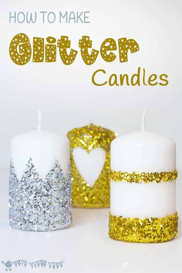 Have you wondered how to make glitter candles? These DIY glitter candles are easy enough for kids to make. They look so pretty and make great gifts too.