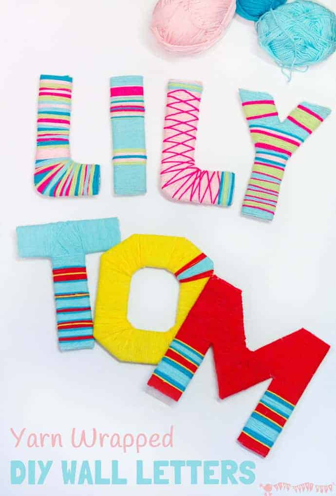 Yarn wrapped diy wall letters kids craft room for Homemade wall letters