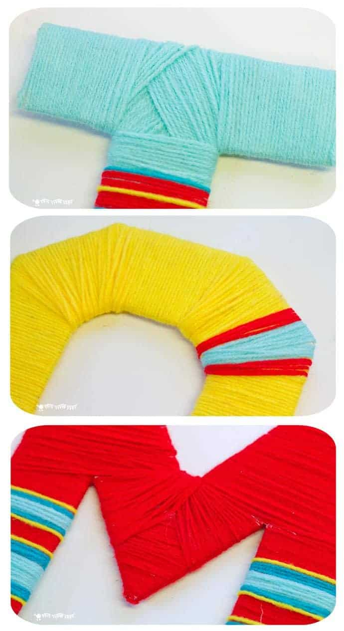Kids and grown-ups will love this Yarn Wrapped DIY Wall Letter Craft. A cheap DIY hack to make bright and funky wall letter displays for around the home. Great for kids bedrooms.